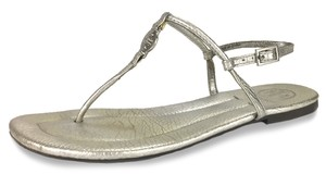Tory Burch Casual Dinner Date Date Night Beach Vacation Silver Sandals