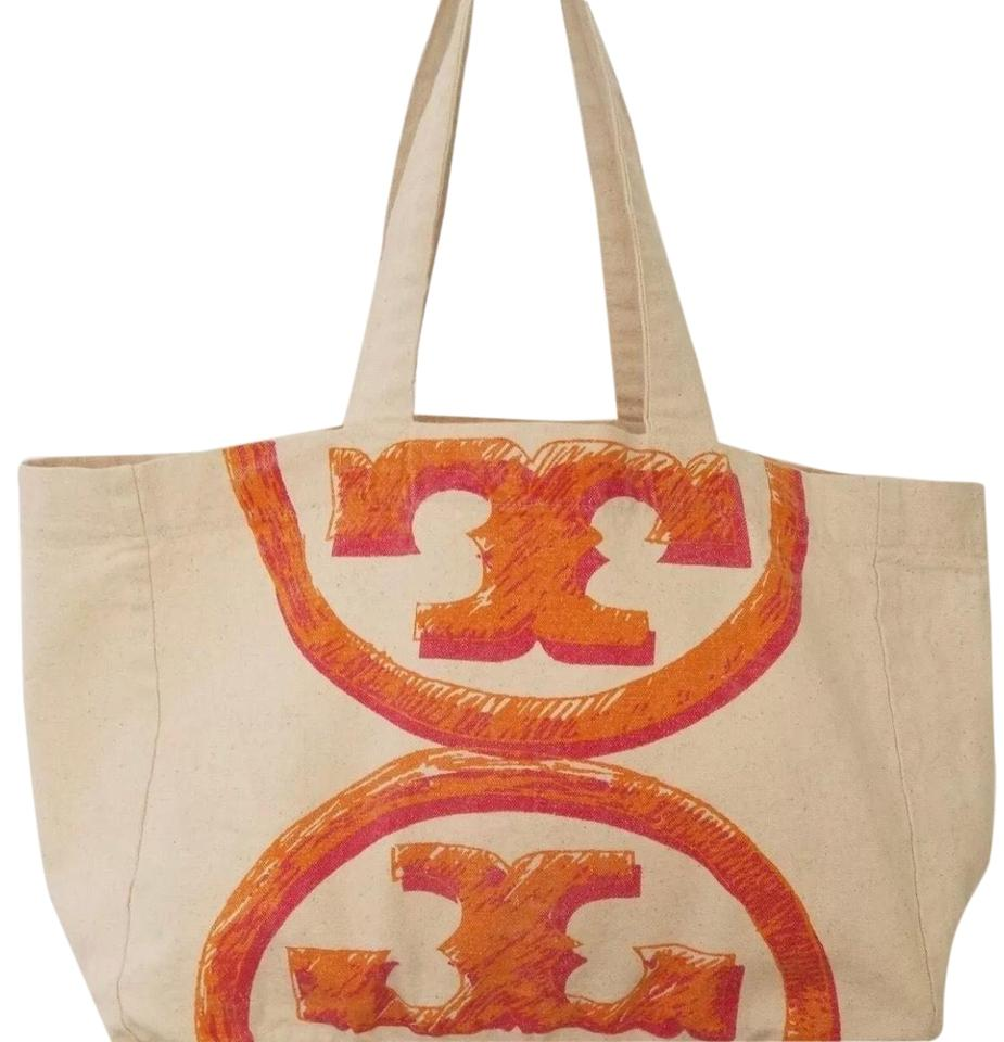 22b84265e63 Tory Burch Orange Cotton Canvas Beach Bag - Tradesy