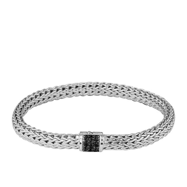 Item - Sterling Silver with Black Sapphire Stones Classic Medium 7.5 Mm Chain Bracelet