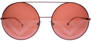 Fendi Fendi FF0285 C9A FF 0285 Red Metal Round Sunglasses Red Lens NEW