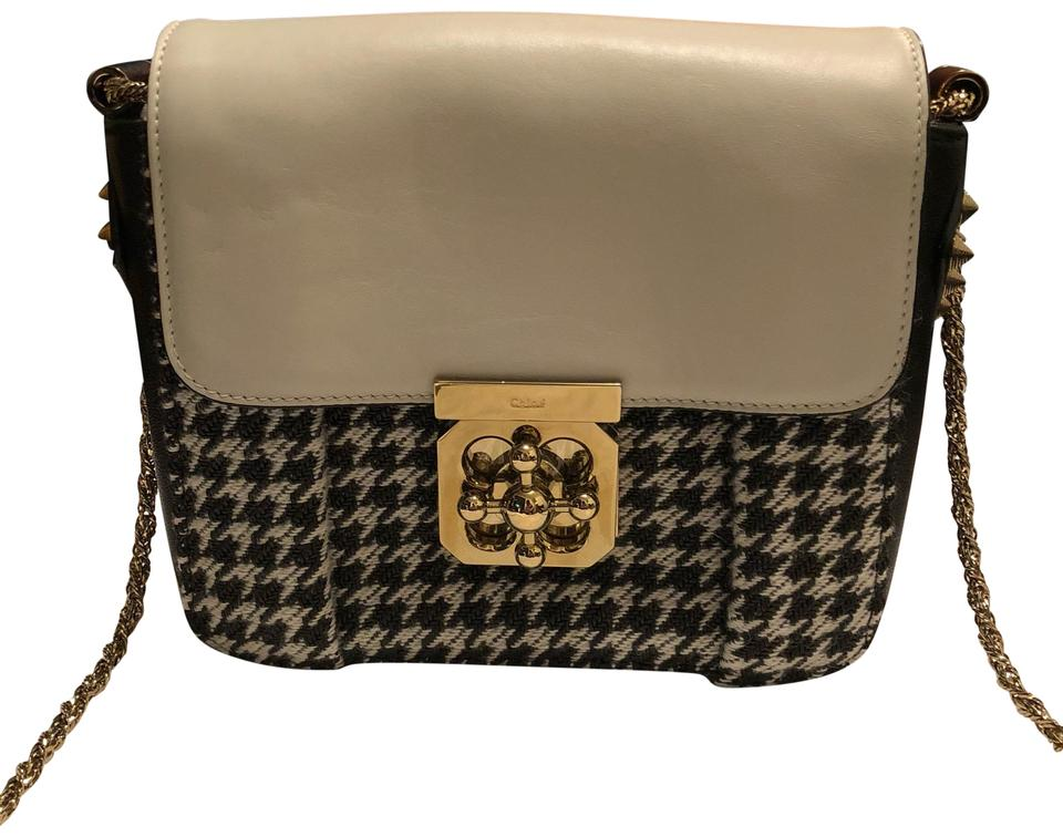 best site offer discounts high quality materials Chloé Shoulder Elsie And Tweed Black/Houndstooth Leather Cross Body Bag 36%  off retail