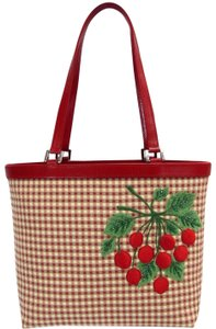 Isabella Fiore Vintage Checkered Canvas Embroidered Beaded Tote in beige/red