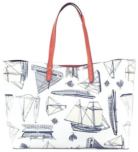 Tory Burch Carryall Nautical Summer Sale Tote in White navy blue