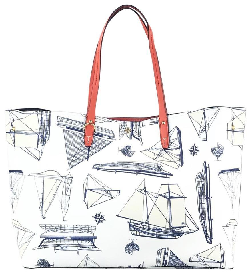 6d6b2e52abe Tory Burch Carryall Nautical Summer Sale Tote in White navy blue Image 0 ...
