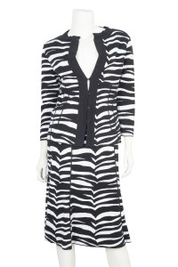 Valentino Valentino Black and White Zebra Print Suit