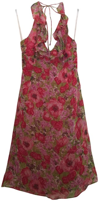 Item - Pink and Green Floral Halter Short Night Out Dress Size 8 (M)