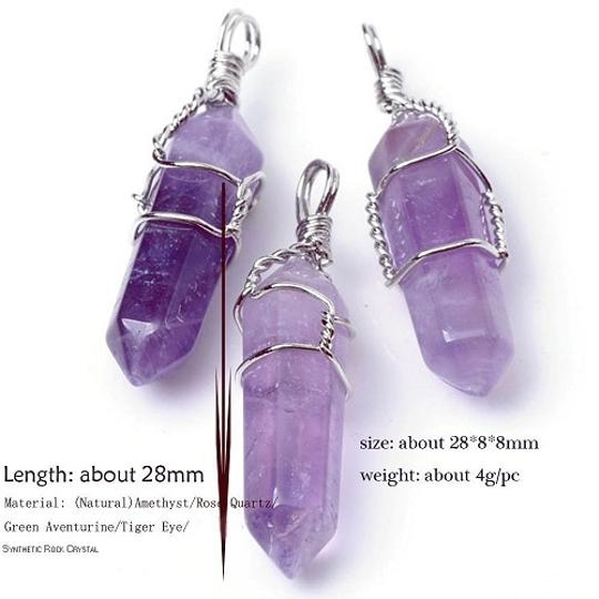 Natural Amethyst Top Plaza 5pcs Natural Amethyst+ Rose Quartz + Tiger Eye+ Green Aventurine + Rock Crystal Healing Point Chakra Pendants for Necklace Jewelry