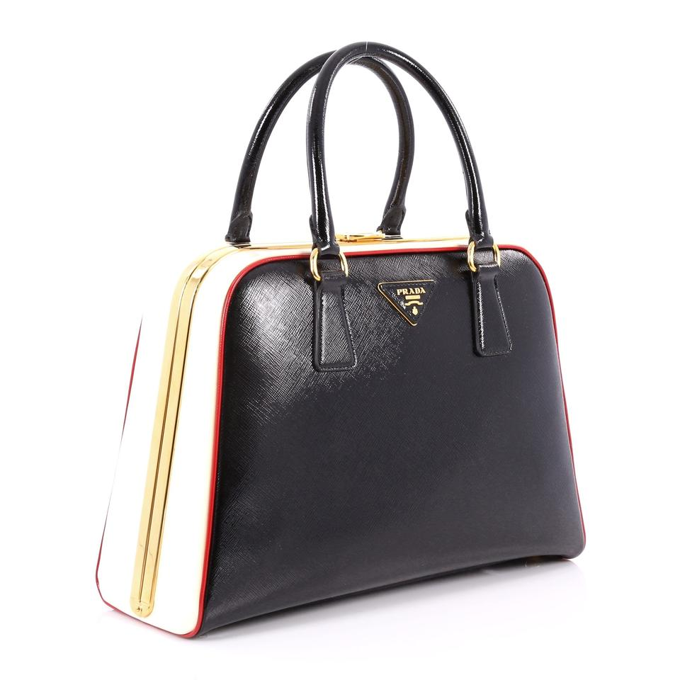 f207972df349 Prada Pyramid Top Handle Vernice Saffiano Medium Black and White Leather  Satchel - Tradesy