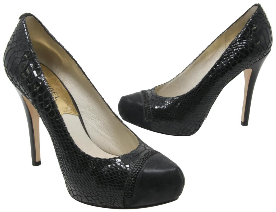 1b6072f9c97bd MICHAEL Michael Kors Black Signautre Python Leather Zipper Detail Hidden  Platform Pumps