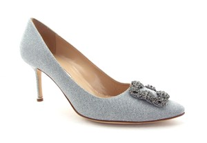 Manolo Blahnik New Hangisi Crystal Encruted Crystal Silver Pumps