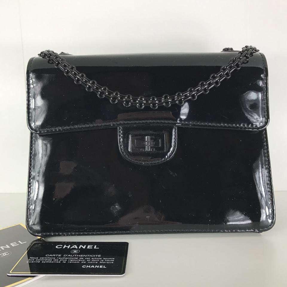 eb2da4b1a5e18c Chanel 2.55 Reissue Rare Black Patent Leather Cross Body Bag - Tradesy