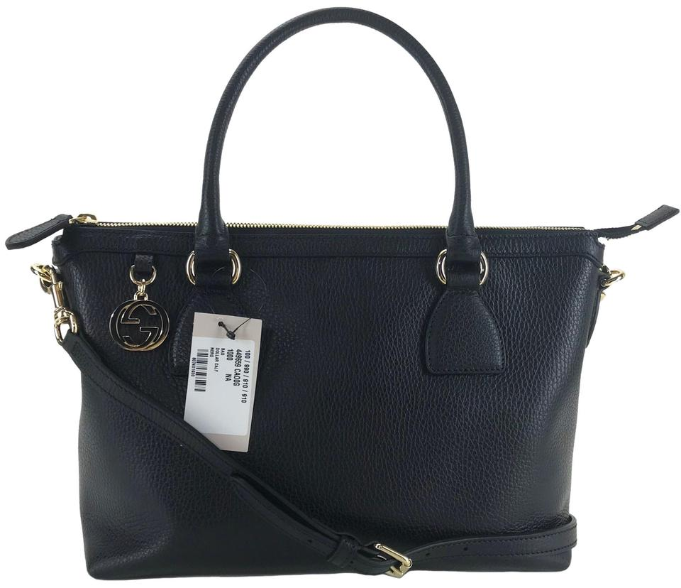 9126e2780 Gucci 449659 Tote with Interlocking G Charm and Shoulder Black Leather  Cross Body Bag