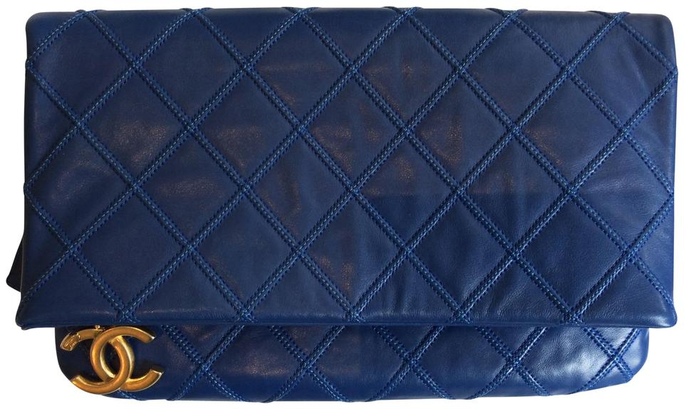 Chanel Quilted Calfskin Thin City Blue Leather Clutch - Tradesy 3d33f4f364647