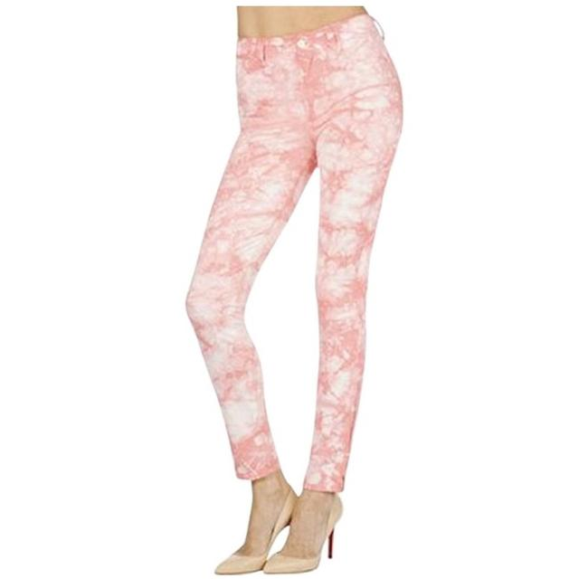 J Brand Coral and White Tie-dye Skinny Jeans Size 4 (S, 27) J Brand Coral and White Tie-dye Skinny Jeans Size 4 (S, 27) Image 1