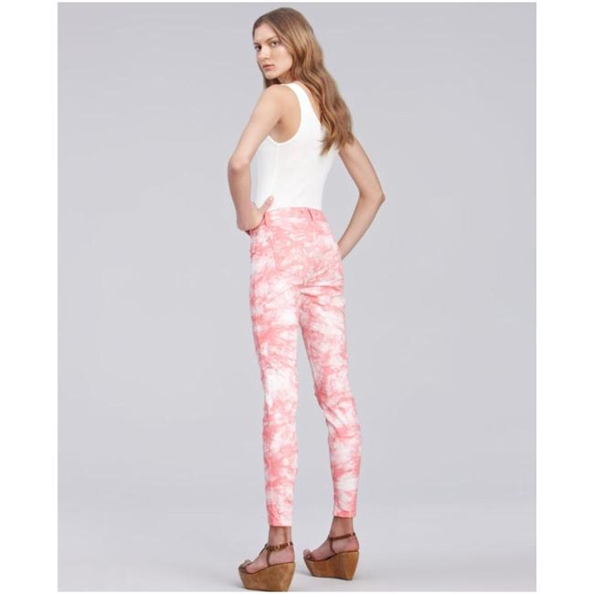 J Brand Coral and White Tie-dye Skinny Jeans Size 4 (S, 27) J Brand Coral and White Tie-dye Skinny Jeans Size 4 (S, 27) Image 2