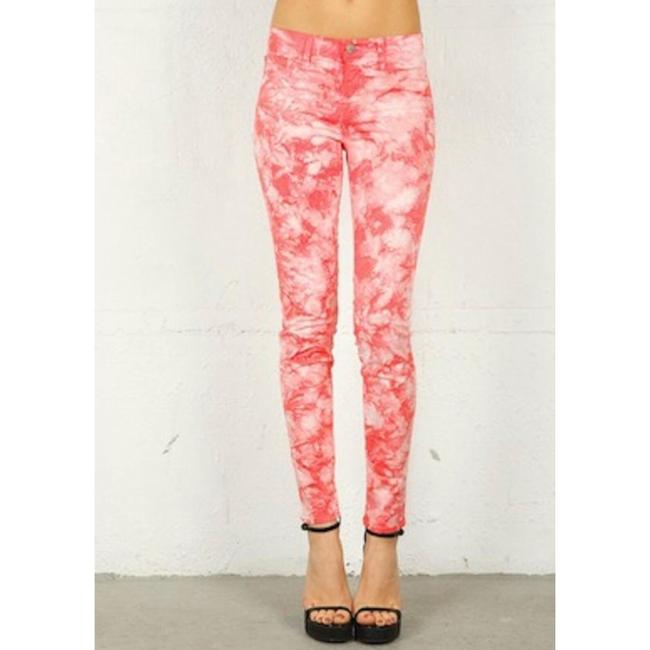 J Brand Coral and White Tie-dye Skinny Jeans Size 4 (S, 27) J Brand Coral and White Tie-dye Skinny Jeans Size 4 (S, 27) Image 4