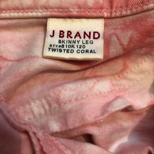 J Brand Coral and White Tie-dye Skinny Jeans Size 4 (S, 27) J Brand Coral and White Tie-dye Skinny Jeans Size 4 (S, 27) Image 8