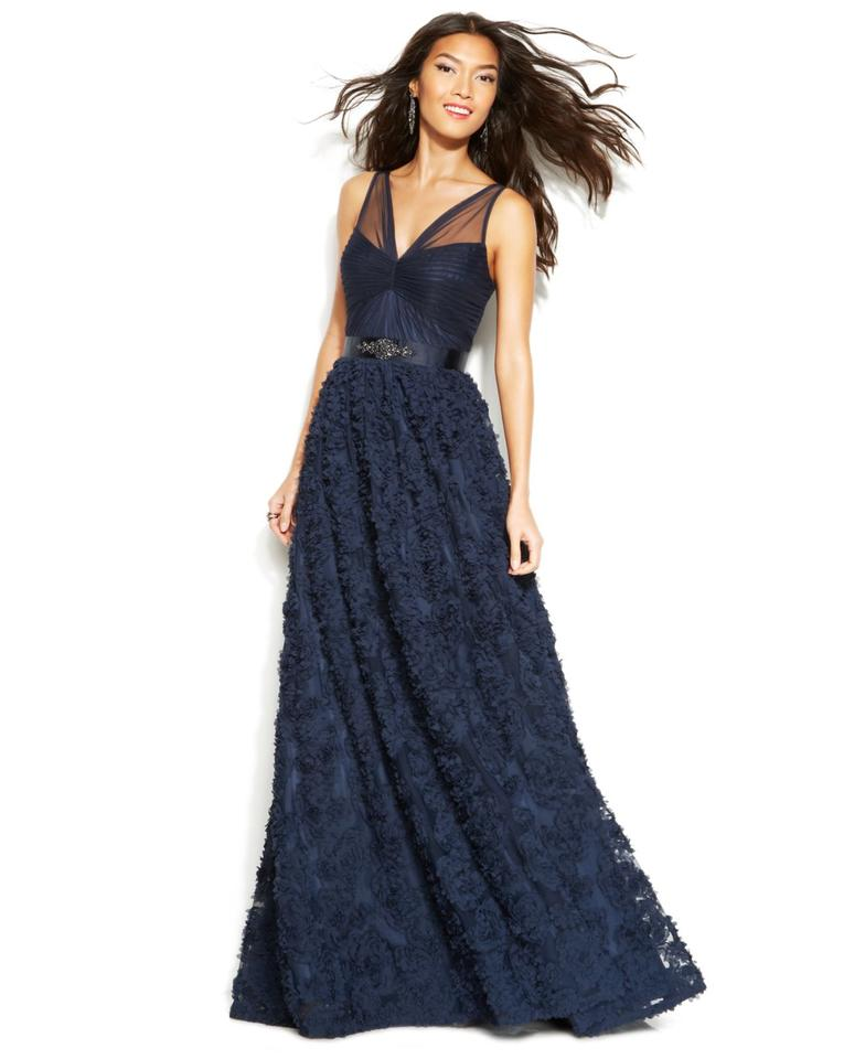 Adrianna Papell Navy Embellished Petal Chiffon Ball Gown Long Formal ...