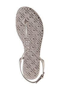 Tory Burch Quilted Metallic Flats Summer Pewter silver Sandals