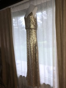 Jenny Yoo Gold Nylon Jules Sequin Blouson Gown with Detachable Back Cowl Formal Bridesmaid/Mob Dress Size 8 (M)