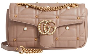 Gucci Marmont Small Crystal Pearl Shoulder Bag