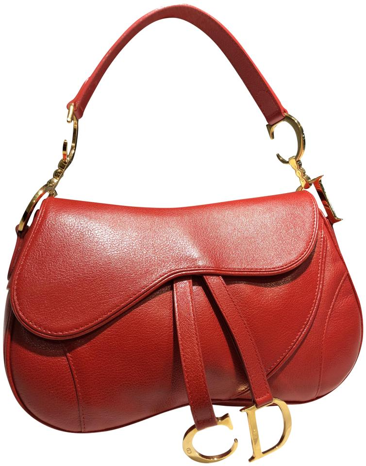 Dior Christian Double Saddle - Gold Hardware Red Leather Shoulder ... 6596c15b72f91