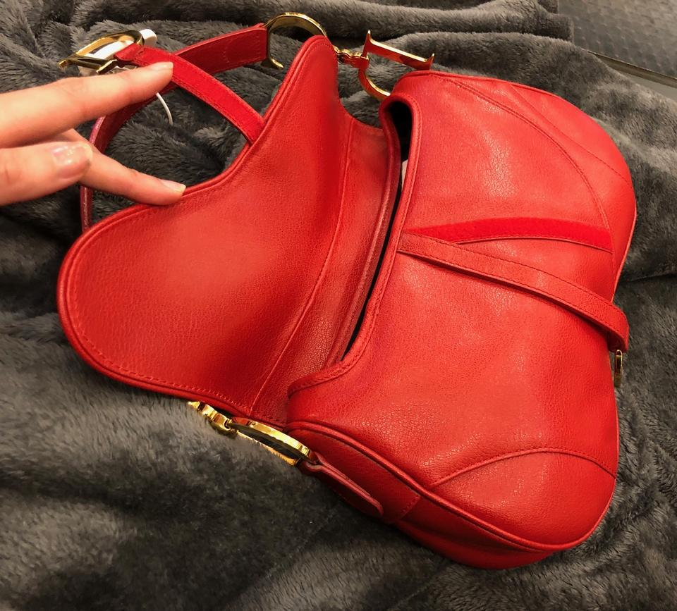 Dior Christian Double Saddle - Gold Hardware Red Leather Shoulder Bag -  Tradesy df55c7e406d77