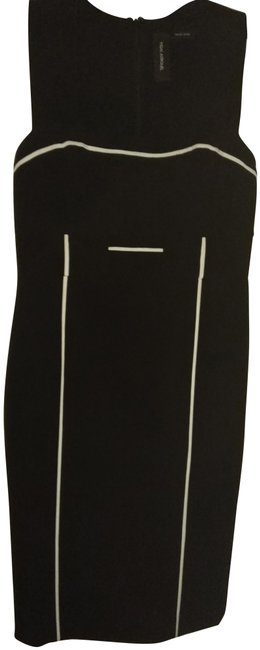 Item - Black White Square Neck with Piping Mid-length Cocktail Dress Size 4 (S)