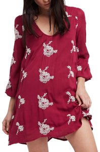 Free People short dress purple combo Embroidered Mini Longsleeve Lined Cut-out on Tradesy