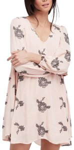 Free People short dress pink Embroidered Longsleeve Cut-out Lined Mini on Tradesy