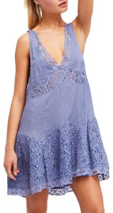 Free People short dress blue pearl combo Sleeveless Lace Trim V-neck Rayon on Tradesy