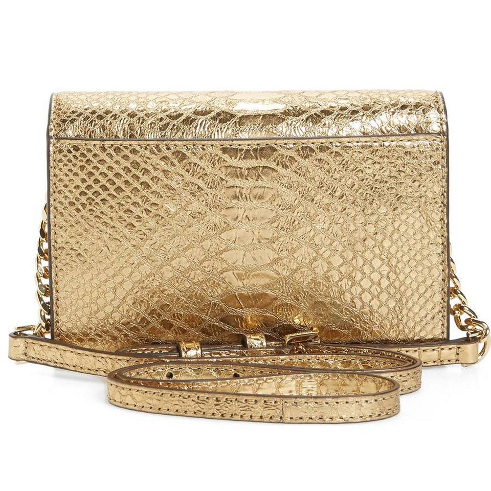51507701fd78 MICHAEL Michael Kors Metallic Ruby Snake Embossed Crossbody Gold Leather  Clutch