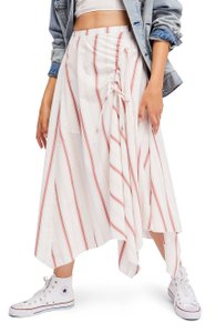 Free People Drawstring Zipper Striped Asymmetrical Cotton Skirt ivory combo