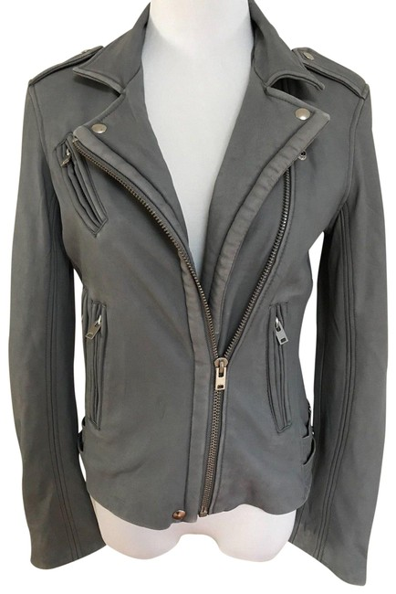 Item - Gray Han Lamb Zip Motorcycle Moto Jacket Size 4 (S)