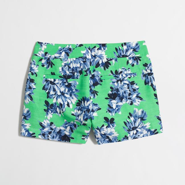 J.Crew Floral Summer Cotton Dress Shorts Green Image 3
