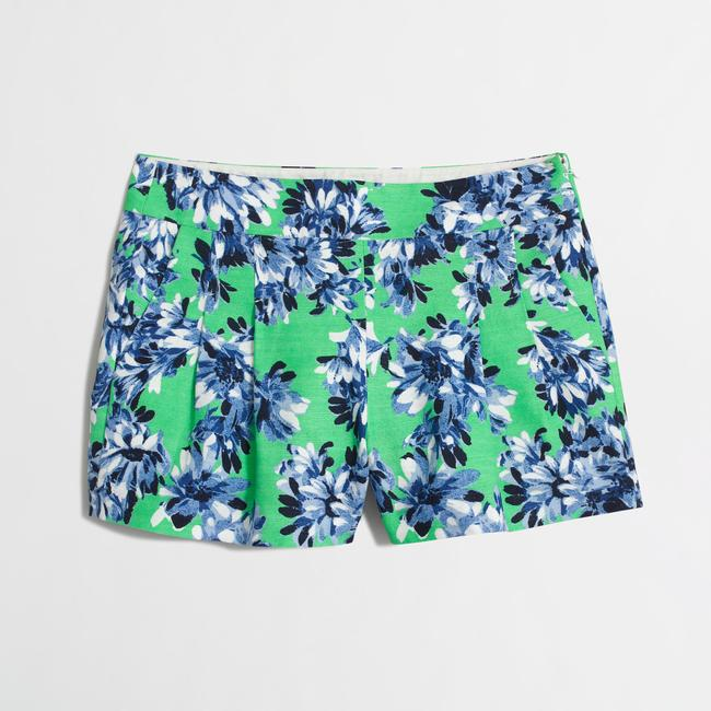 J.Crew Floral Summer Cotton Dress Shorts Green Image 4