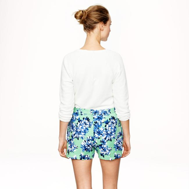 J.Crew Floral Summer Cotton Dress Shorts Green Image 6