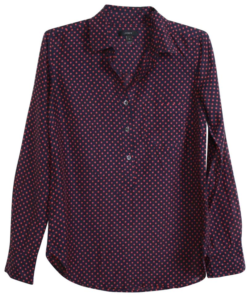 3f1be52e86d3ec J.Crew Navy Cotton-silk Voile Dot Popover Blouse Size 0 (XS) - Tradesy