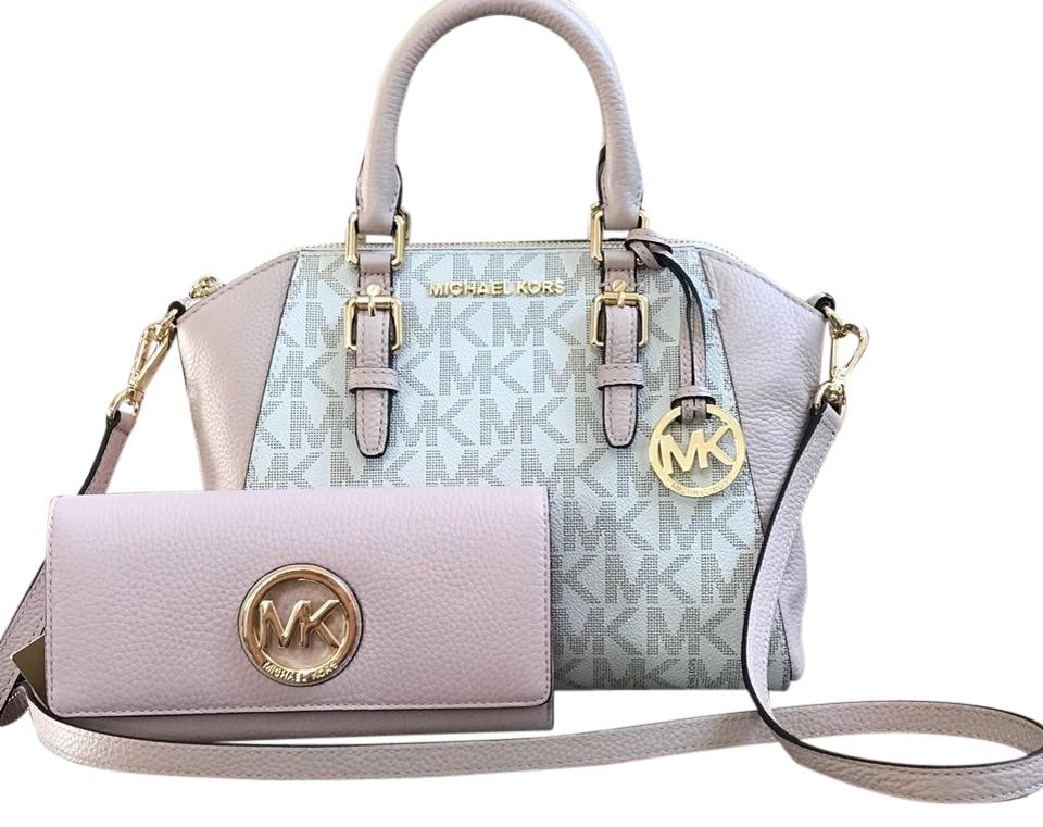 bd5890c9b97238 Michael Kors Monogram Signature Ciara Pebbled Leather Satchel in vanilla/ballet  Image 0 ...