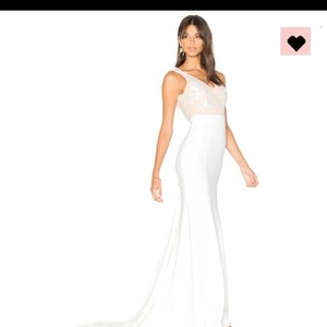 Lovers + Friends White and Nude Polyester Nylon Lace Revolve Gallery Gown Destination Wedding Dress Size 4 (S)
