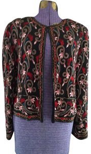 Papell Boutique Vintage 90's Beaded Embroidered Jacket From India Evenng Jacket Top Black