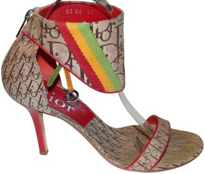 Dior Christian Rasta Red Yellow Green Tan and Brown Sandals