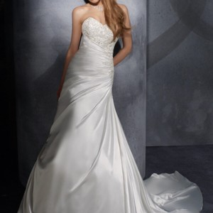 Mori Lee Ivory Satin Gown Traditional Wedding Dress Size 12 (L)