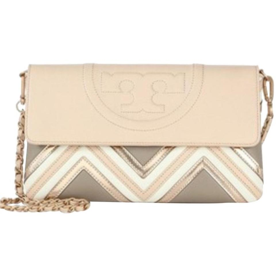97fc90d2b5be Tory Burch Fleming Geo Beige Leather Clutch - Tradesy
