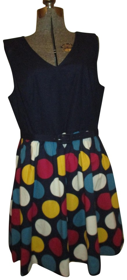 8fc5eff2404 Modcloth Navy Multi Sleeveless Cotton Short Casual Dress Size 16 (XL ...