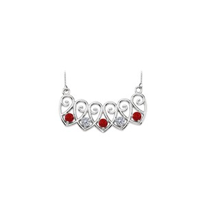 Marco B 14K White Gold Created Rubies and CZ Mothers Necklace Mounting