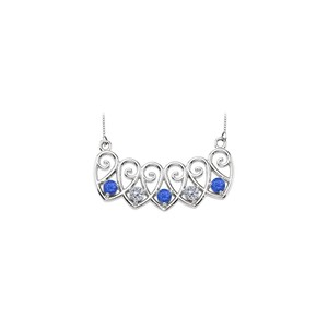 Marco B 14K White Gold Created Sapphires and CZ Mothers Necklace Mounting