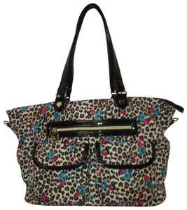 Betsey Johnson Roses Leopard Man Made Tote Shoulderbag Satchel in black, brown, tan, red & green