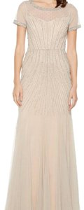 Adrianna Papell Embellished Beaded Sequin Mesh Dress