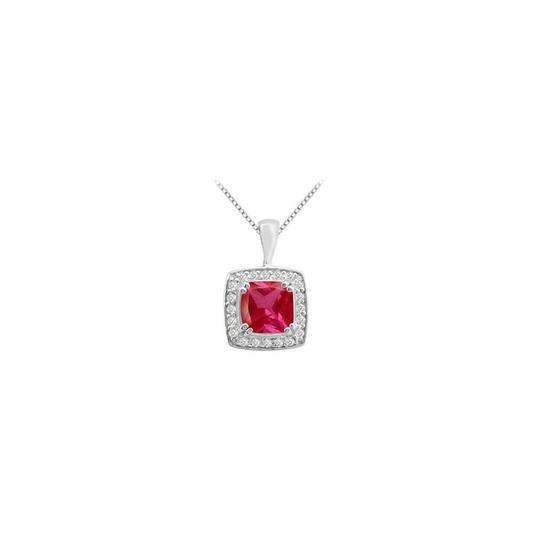 Marco B 14k white gold pendant with cushion cut GF Bangkok Ruby and cubic zirc Image 0